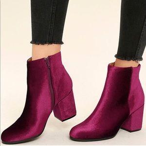 NIB Wine Velvet Charcoal Kitten Heel Ankle Boots